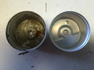 the effects of Ethanol Damage and contaminate deposits in the Carburetor Bowl on the left versus a normal Carburetor Bowl on the right.